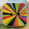 Solid Wooden Button/Beads, Fashion DIY-accessories Mixed color Mixed Pattern Square, 15mm,Hole:2mm Sold by Bag
