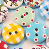 Wooden Button/Beads, Fashion DIY-accessories Mixed color Mixed Pattern Flat Round, 15mm,Hole:2mm Sold by Bag