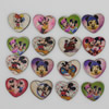 Wholesale Mixed color Lead-free Heart Wooden Button Beads 22x20mm Sold by PC