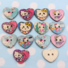 Wholesale Mixed color Lead-free Cat Wooden Button Beads 22x25mm Sold by PC