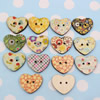 Wholesale Mixed color Lead-free Flower Wooden Button Beads 21x25mm Sold by PC