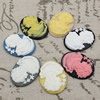 Cameos Resin Beads, Mixed color,A Grade, No-Hole Jewelry findings, 39.5x29.5mm ,Sold by PC