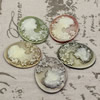 Cameos Resin Beads, Mixed color,A Grade, No-Hole Jewelry findings, 47x37mm ,Sold by PC