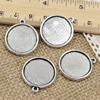 Alloy Antique Silver Cameo/Glass/Cabochon Frame bezel Settings, Double side Charm with Single Ring fit 26x23mm  inner size:20mm ,Sold by PC