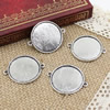 Alloy Antique Silver Cameo/Glass/Cabochon Frame bezel Settings, Single sided Charm with double Ring fit 34x27.5mm  inner size:25mm ,Sold by PC