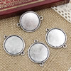 Alloy Antique Silver Cameo/Glass/Cabochon Frame bezel Settings, Single sided Charm with double Ring fit 29x22.5mm  inner size:20mm ,Sold by PC