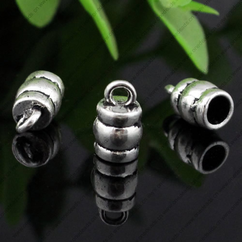 Zinc Alloy Cord End Caps, lead-free,10x6mm, hole:4mm, Sold by PC