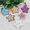 Wholesale Mixed color Lead-free Star Wooden Button Beads 30x31mm Sold by PC