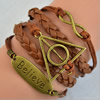 2015 Wholesale Fashion New Best Gift Hallows Snitch Cords Bracelets For Women Pulseiras Length 16+5cm Sold by Strand