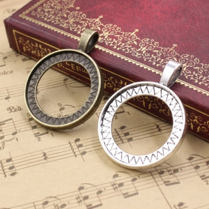 Fit 25mm both side can be put cabochons Vintage Zinc Alloy Round Blank Setting Bezel Base  sold by bag K05416