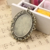 Fit 30x40mm both side can be put cabochons Vintage Zinc Alloy Oval Blank Setting Bezel Base Cabochon Round Base Sold by PC