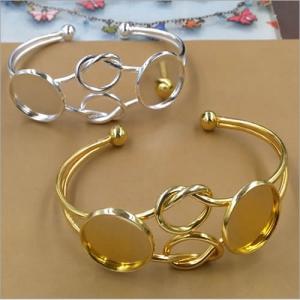 Fit 20mm cabochons Vintage Copper Round Blank Setting Bezel Base Cabochon Bracelet Base For DIY Bangle Sold by PC